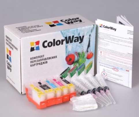 комплект перезаправляемых картриджей от фирмы colorway